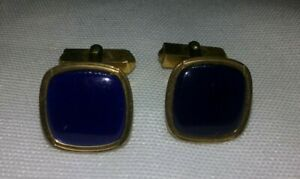 VINTAGE-SWANK-1-20-12K-GOLD-FILLED-SQUARE-BLUE-CELLULOID-PLASTIC-CUFF-LINKS