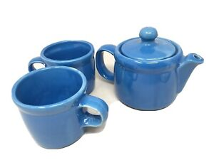 Vintage MCCOY POTTERY 7129 Blue Tea for One Teapot + 2 Matching Mugs 286  USA