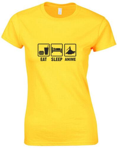 Eat Sleep Anime inspired Ladies Printed T Shirt Short Sleeve Cotton Women Tee