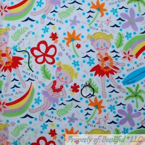 BonEful-Fabric-FQ-Cotton-Quilt-VTG-White-Hawaiian-Girl-Rainbow-Flower-Beach-Doll