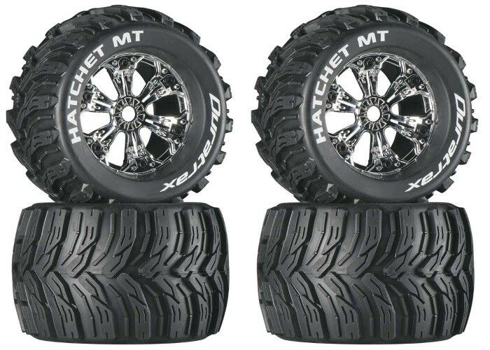 NEW DuraTrax Savage XL   X 4.6   Flux Mounted Hatchet Tires   Wheels DTXC3587