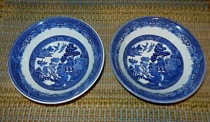 Lot-Of-2-Johnson-Bros-England-Blue-Willow-6-034-Bowls
