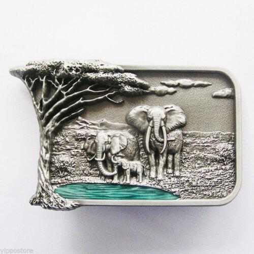 Africa Elephant Big Tree Metal Belt Buckle