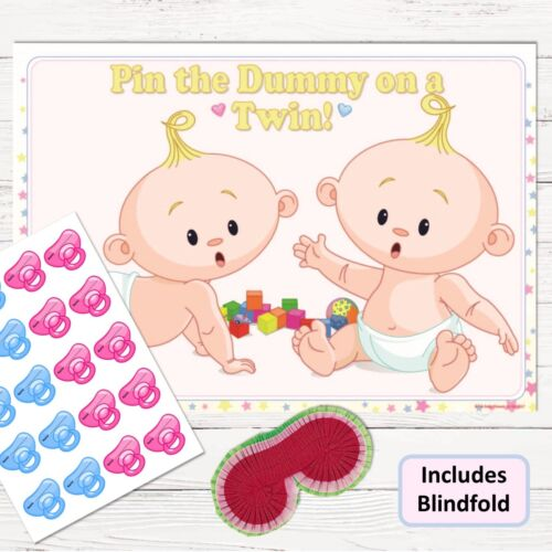 Pin the Dummy Pacifier Blindfold Unisex Neutral 10-40 TWIN BABY SHOWER GAME