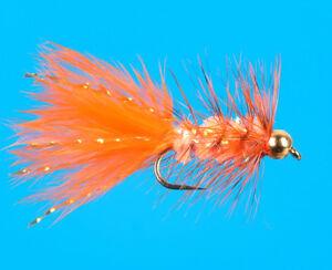 Taille 12 fluo 6 pcs Orange Bead Head MINI SPARKLE LAPIN