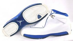 finest selection a7b8e fdf16 Image is loading Pre-owned-Mens-Air-Jordan-18-White-Royal-