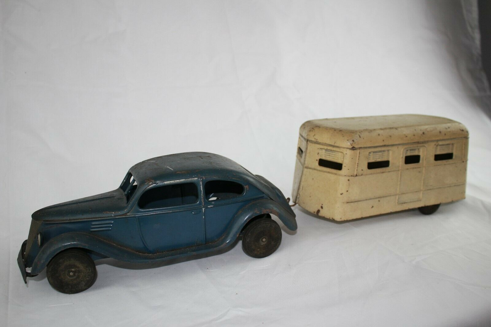 1930's Kingsbury Windup Sedan with House Trailer, Original