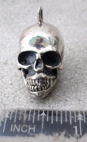 Awesome 92.5 Sterling Silver Skull Stash Pendant Handmade