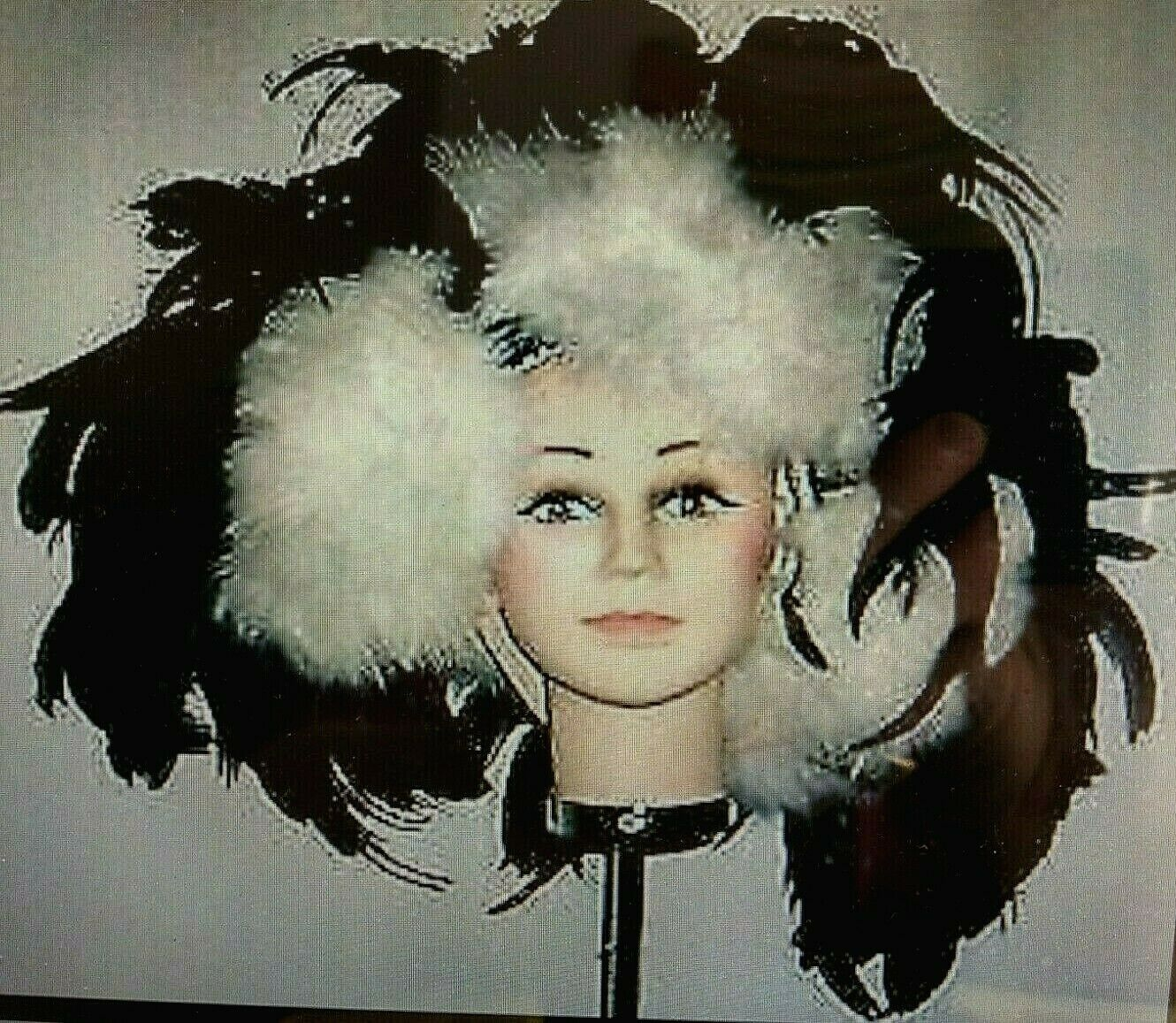 Ostrich & Couche Feathers Showgirl Headdress from Sizzle Show in Black n White