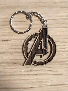 Details About Marvel Inspired Wood Keyring Avengers A Logo Laser Cut Keyring Keychain