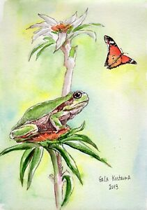 Frog-And-Butterfly-original-watercolor-animal-painting-summer-reptile-nature-art