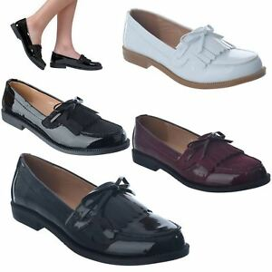 Image Is Loading Las Womens New Clic Fringe Loafers Flat Office