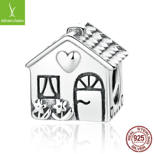 Authentique Véritable Argent Sterling 925 Home Sweet House Charms Bead Holiday Gifts