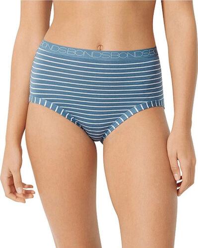 Bonds Ladies 37R Blue Rock Stripe Print Cottontails Full Brief Size 16 New
