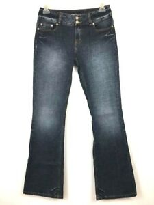 London-Womens-Jeans-Size-8-Dark-Wash-Flared-Leg-Stretch-Distressed-High-Waist