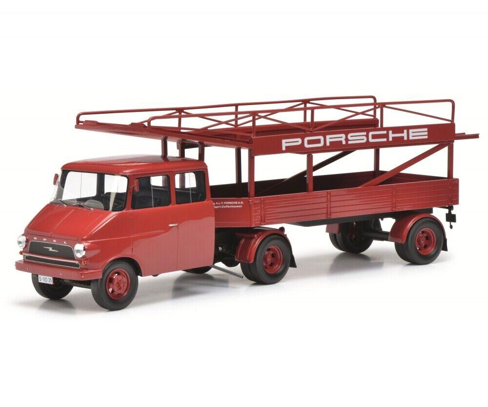 OPEL BLITZ  PORSCHE  RACING TRANSPORTER RED LTD ED 1 18 MODEL SCHUCO 450008400