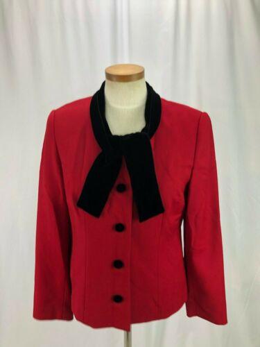 Talbots Women's Red Wool Blazer Velvet Collar 6 - image 1