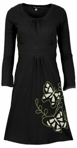 Organic-Summer-Long-Sleeve-Dress-with-Butterfly-Embroidery-XS