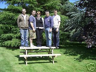 WIDE SEAT WITH PARASOL 5FT WALK IN PICNIC BENCH EXTRA HEAVY DUTY REDWOOD