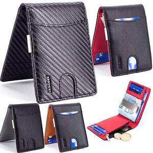 Portafoglio-Uomo-Porta-Carte-di-Credito-Slim-Piccolo-Sottile-Zip-RFID-Fermasoldi