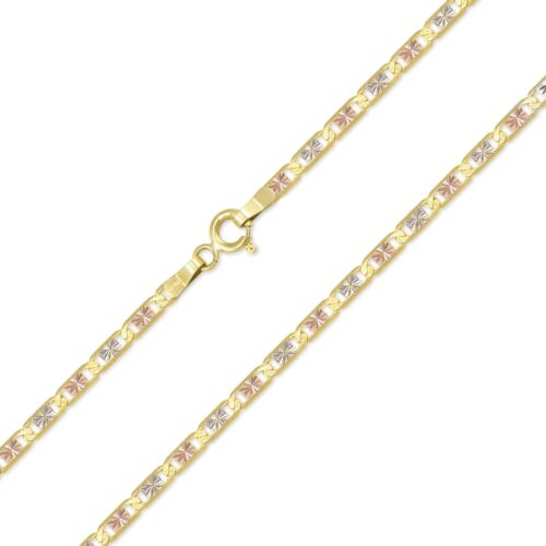 """10K Solid Yellow White Rose Gold Valentino Necklace Chain 2.1mm 16-24/"""" Women Men"""