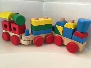 Details About Melissa Doug Wooden Train Set Stacking Blocks Classic Toy Toddler