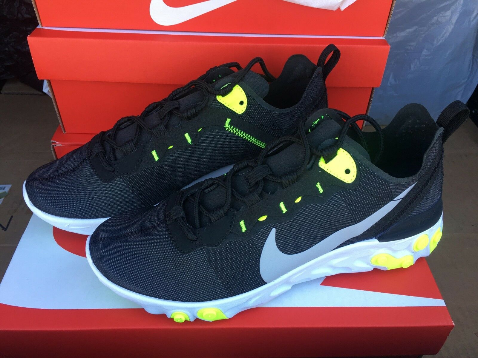 Nike Air React Element 55 Black Neon Wolf Grey Volt White BQ6166-001 Men's 8-13