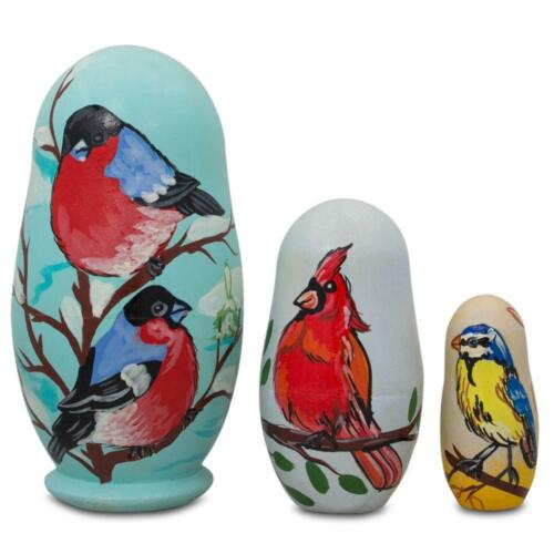 Set of 3 Birds Cardinal Wooden Nesting Dolls 4.25 Inches Finches