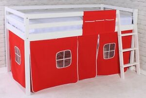 Shorty Mid Sleeper Cabin Bed Loft Bunk With Tent Red New White Frame