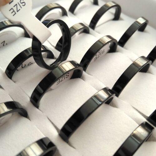 100x Comfort-Fit Band 4 mm Unisexe Acier Inoxydable Anneau Mariage Noir Argent Or