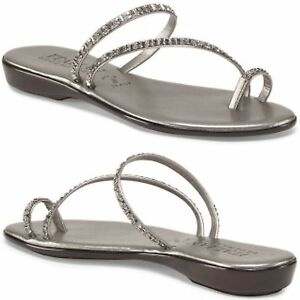 57c3f7d6af5c ITALIAN SHOEMAKERS Made In Italy Evita Toe Ring PEWTER Sandals ...