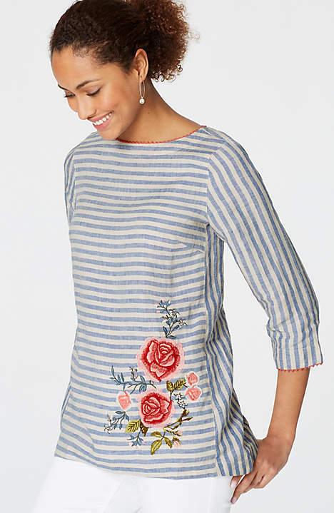 J. Jill - 3X(Plus) - Embroiderot Striped Barley Delft Blau Linen Top - NWT