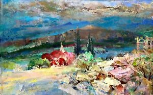 painting-art-Latunov-socrealism-vintage-decor-landscape-mountains-old-Crimea