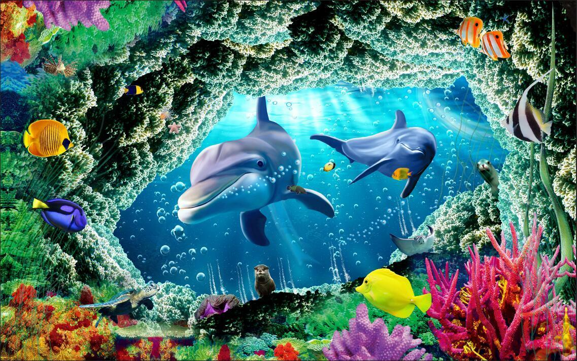 3D Dolphin tropical fish Wallpaper Decal Dercor Home Kids Nursery Mural  Home