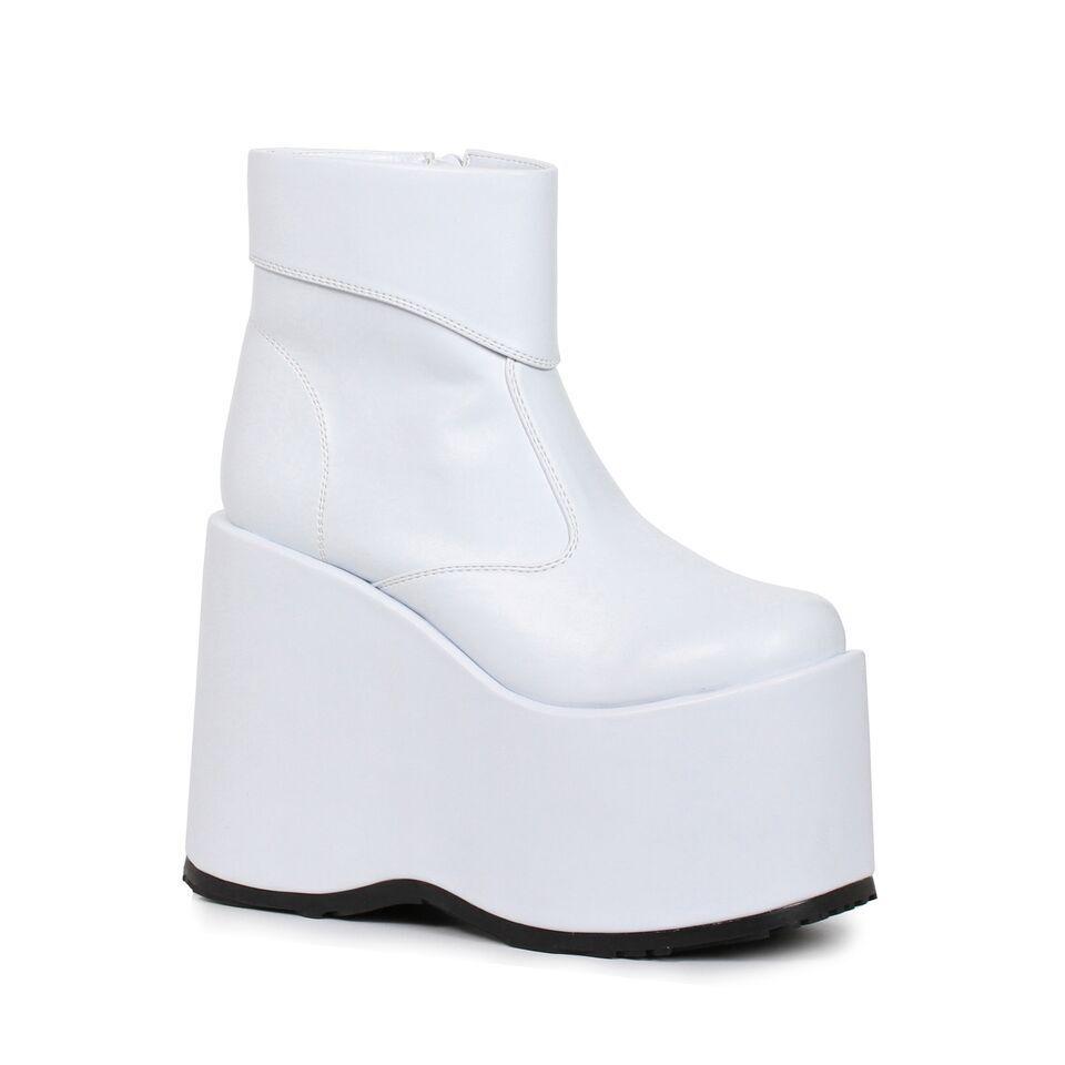 Weiß Platform Ankle Stiefel Burning Man Music Festival Rave Mens schuhe 9 10 11 12