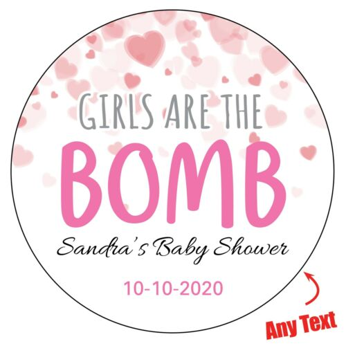 48x GIRLS ARE THE BOMB Baby Shower Personalised Stickers Gender Party 1073