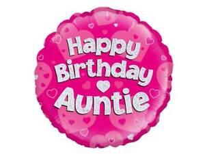 "18/"" PINK HELIUM FOIL BALLOON HAPPY BIRTHDAY AUNTIE oak 229493"