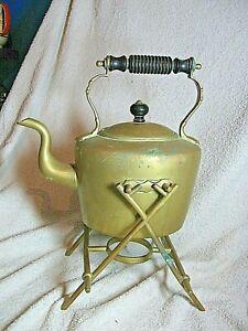 Victorian Brass Spirit  Kettle on original stand  (No burner )