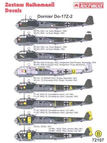 Techmod Decals 1//72 DORNIER Do-17Z German Bomber