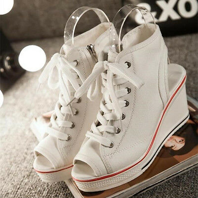 Womens Open Toe Canvas Wedge Lace Up Casual Slingbacks Sneakers Sandals
