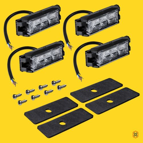 4pc 3W LED Emergency Vehicle Strobe Grille Light Head Police Firefighter Amber