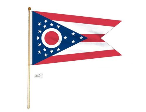 5 Foot Wooden Flag Pole Kit Wall Mount Bracket With 3x5 Ohio State House Flag