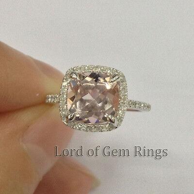 7mm Cushion Cut VS1 Pink Morganite Engagement Ring Halo Diamonds,14K White Gold
