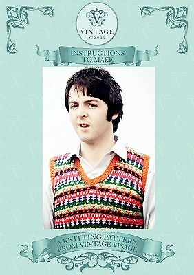 Vintage 1960s knitting pattern-how to make a vest top like Paul McCartneys