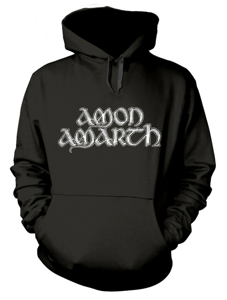 Amon Amarth 'Grey Skull' (Black) Pull Over Hoodie - NEW & OFFICIAL!