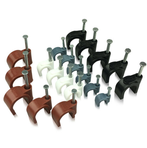 Packungen Von Rund Weiß /& Schwarz Kabel Clips 5mm-12mm mit Befestigung Nägel