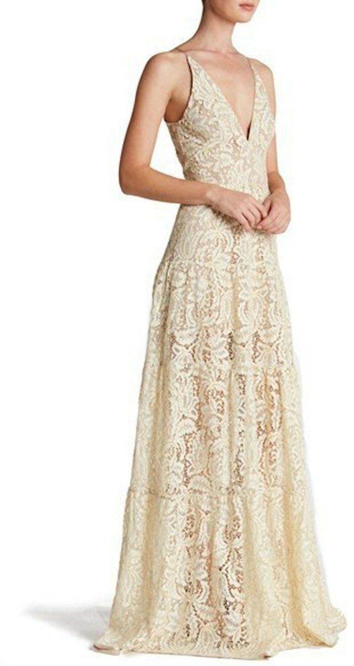 Dress the Population Melina Lace Lace Lace Fit & Flare Maxi Dress Ivory Sz S  238 NEW 489bf3