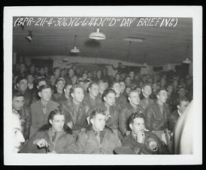 D-Day-June-6th-1944-369th-Bomb-Squadron-Briefing-WWII-Type-1-Original-Photo