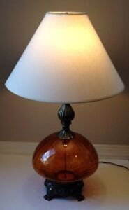 Image Is Loading Vintage Retro Amber Glass Table Lamp 3 Way