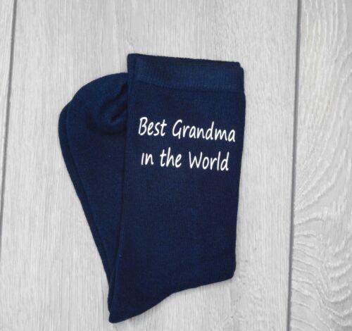 Best Grandma In The World Ladies Navy Socks Mothers Day Gift Vinyl Printed Nan